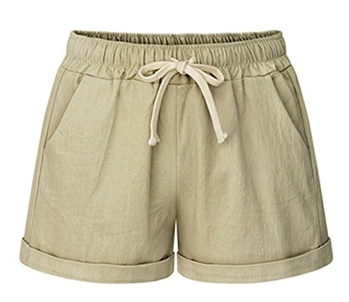 CHARTOU Women's Elastic Waist Cotton Linen Casual Beach Shorts with Drawstring (Medium, Khaki)
