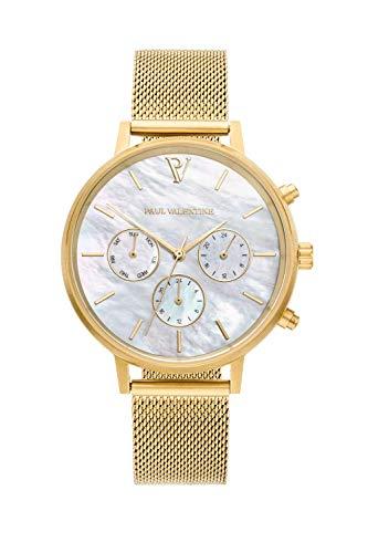 Paul Valentine - Damenuhr - Multifunctional Gold Seashell Mesh - 38 mm Armbanduhr für Damen, Uhr mit Perlmutt-Ziffernblatt & Milanaise-Armband, kratzfestes Glas