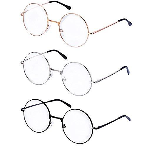 BJ-SHOP Unisex Metallrahmen Runde Retro Klarglas Brillen Set Schwarz,Gold, Silber Farbe Classic Lightweight Brille 3 Paar
