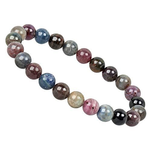 ELEDORO PowerBead - Pulsera elástica para mujer de piedras preciosas de 8 mm, zafiro multicolor