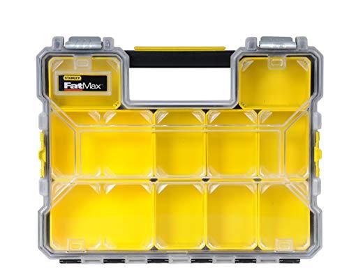 Stanley 1-97-517 FatMax Professionele organizer voor gereedschap, 44,6 x 7,4 x 35,7 cm, organizer met uitneembare boxen en metalen sluitingen, waterdicht, stevige koffer met platte vakken