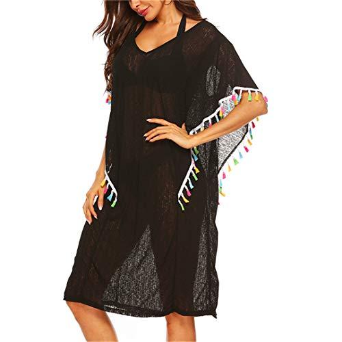 YJIUAS Farbe Quaste Chiffon-Tunika Strand-Kleid-Frauen-Schwimmen-Vertuschung-Sommer-Bikini-Schwarz-Vertuschung-Lange Bademode Kleider Black Dress M