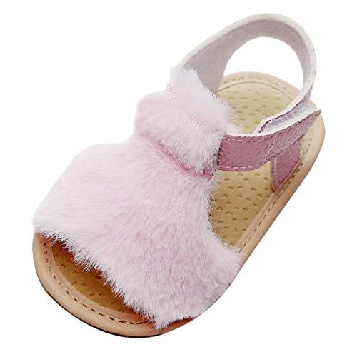 WEXCV Baby Mädchen Kinder Herbst Weichen Sohle Krabbelschuhe Neugeborenen Fluff Sandalen Anti-Rutsch Licht Schuhe Lauflernschuhe für 0-43 Monate
