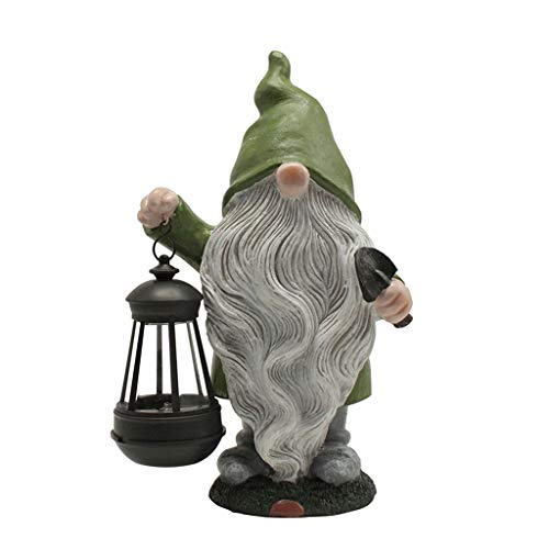 6Wcveuebuc Garden Gnome Statue Resin Figurine Holding Lantern with Solar LED Light Outdoor Decorations Patio Yard Lawn Porch Ornament