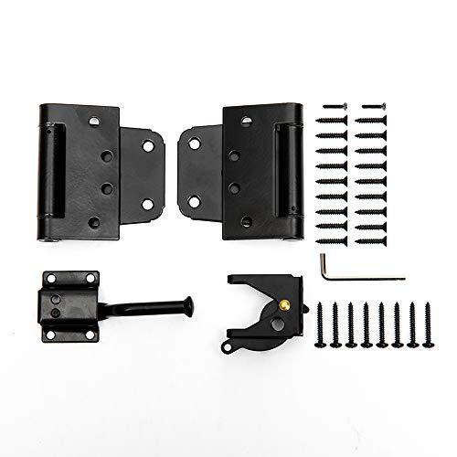 Home Master Hardware Self-Closing Gate Kit Black - 3.5 in Spring Tee Hinges 2 Pack + Self-Adjusting Gate Latch 1 Pack