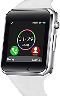 321OU Smart Watch Touch Screen Bluetooth Smart Watch Smartwatch Phone Fitness Tracker SIM SD Card Slot Camera Pedometer Compatible iPhone iOS Samsung LG Android Kids Men Women (White)
