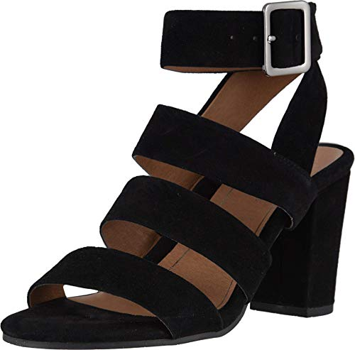 Vionic Women's Perk Blaire Open Toe Heel - Ladies Strappy Sandal with Concealed Orthotic Arch Support Black Suede 5 Medium US