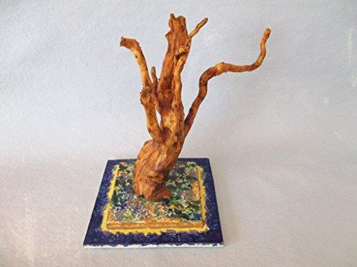 *Treibholz Wurzel Skulptur, Baum, mit getöpfertem Keramik Skulpturhalter, Schwemmholz Deko, Holzfigur, Keramikfigur, Tischdeko, Wohndeko, Fensterbank, Badezimmer, ca. 18 x 13 cm, Designer Unikat*
