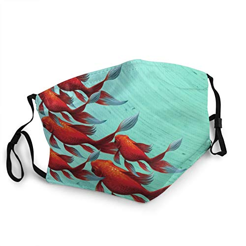 Custom Bandanas for Men Women Animal Goldfish Red Green Print Face Mask Comfy Breathable with Filter Pocket Face Scarf Neck Gaiter