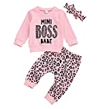 Baby Girl Leopard Outfit Long Sleeve Mini Boss Sweatshirts Shirts Tops Long Pants Heaband Autumn and Winter Clothes (18-24 Months, Mini Boss)