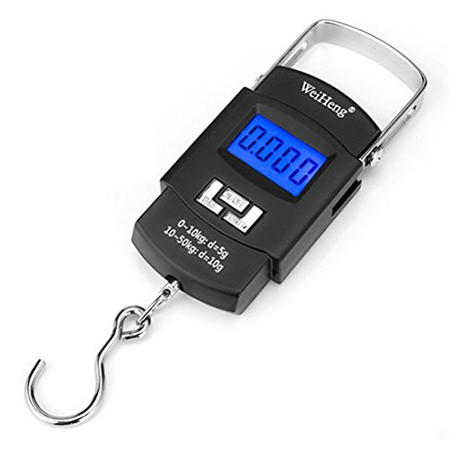 Odowalker Fishing Electronic Weighing Scales Luggage Scale Hanging Hook Scale,Digital Electronic Balance Backlit LCD Display 50 Killogram / 110 lb - Wide Stainless Steel Handle