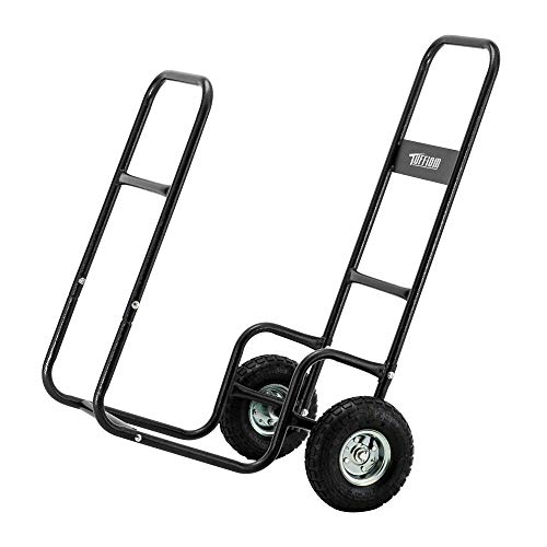 ROVSUN Firewood Cart Wood Hauler Fireplace Log Carrier Mover, Outdoor Indoor Wood w/Rolling Wheel Dolly Storage Holder