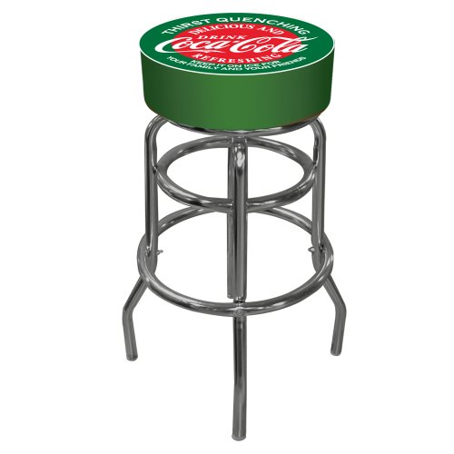 Coca-Cola Red and Green Padded Swivel Bar Stool