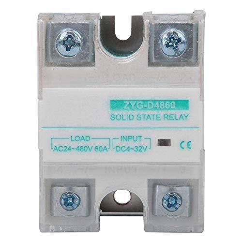 XUSHEN-HU Relé de estado sólido DC-AC 4-32V 60A, SSR LED Estado Tubo Indicación Módulo de relé monofásico, del aparato electrodoméstico de Distribución y equipos de control Digital