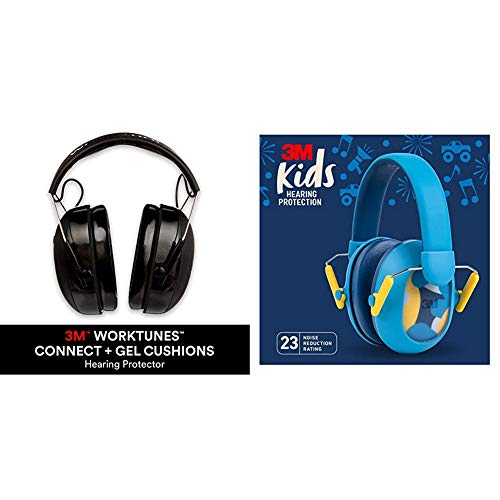 3M WorkTunes Connect + Gel Cushion Hearing Protection & 3M Kids Hearing Protection Plus, Blue