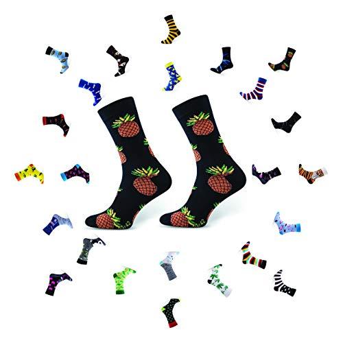 Sesto Senso Lustige Baumwolle Socken Damen Herren 1-3 Paare Bunte Ungleiche Funny Socks Pineapple 39-42 Ananas