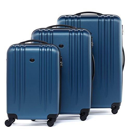 FERGÉ Kofferset Hartschale 3-teilig Marseille Trolley-Set - Handgepäck 55 cm L XL - 3er Hartschalenkoffer Roll-Koffer 4 Rollen 100% ABS blau