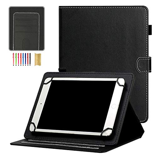 Universal 10' Tablet Case, APOLL Folio Flip Stand [Pen Holder] Minimalist Series Case for HD 10/for Samsung Tab 10.1' 10.4' 10.5'/for MatrixPad 10'/iPad 10.2 10.5 and More 9.5'-10.5' Tablet, Black