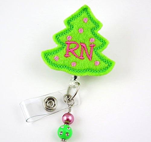 RN Christmas Tree - Nurse Badge Reel - Retractable ID Badge Holder - Nurse Badge - Badge Clip - Badge Reels - Pediatric - RN - Name Badge Holder