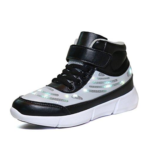 Dannto Kinder LED Schuhe Leuchten Sportschuhe Leuchtschuhe Blinkschuhe USB Aufladen Farbwechsel Sneakers Turnschuhe für Mädchen Jungen(Schwarz,33)