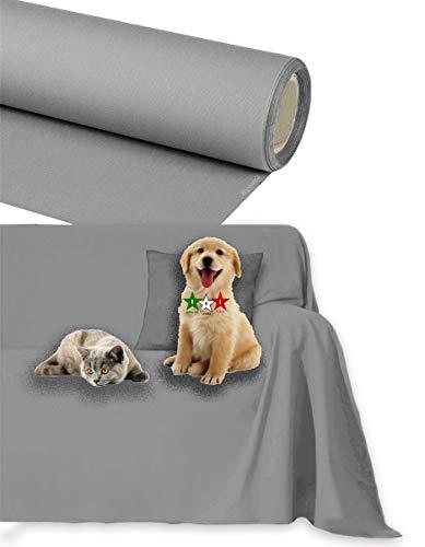 Byour3®️ Funda de sofá Impermeable - protección para Sofás por Mascotas Niños Protector hidrófugo en Algodon Antimanchas Antideslizante para Pelo Gatos Perros (Gris Acero, 1/2 plazas 200x300cm)