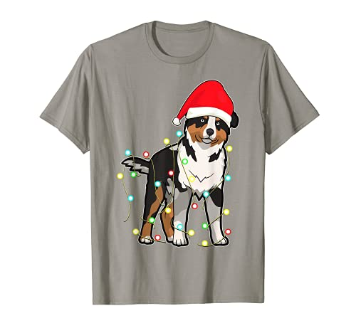 Christmas Lights Australian Shepherd Dog Lover Regalo de Navidad Camiseta