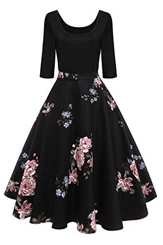 Axoe Damen A-Linie Kleid 60er Jahre Rockabilly mit Blumenrock 3/4 Ärmel Gr.36, Farbe 4, S