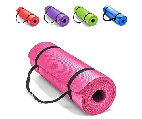 SourceDIY Esterilla de ejercicio extra gruesa de 1 cm, antideslizante, resistente a la humedad, cojín de espuma para pilates, entrenamiento y terapia física (rosa, 15 mm)