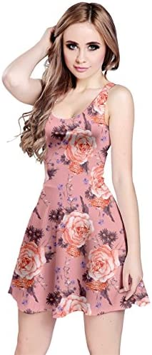 CowCow Womens Coral Vintage Roses Pattern Sleeveless Dress Coral 5XL product image