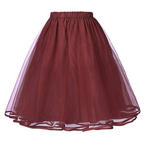 Belle Poque® Falda Mujer de Tul Vintage Retro Miriñaque Tutú Cancán Enaguas para Vestido