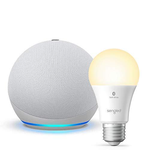 Nuevo Echo Dot (4ta Gen) - Blanco - paquete con Sengled Bluetooth foco (producto Certificado para for Humanos)