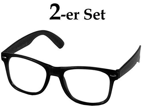 Hornbrille Atzenbrille Nerd Brille Klar oder als Sonnenbrille wayfarer Brille Nerdbrille in verschiedenen Farben (Schwarz (2-er Set))