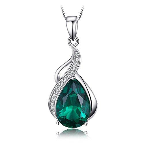 JewelryPalace 2.7ct Simulierte Grün Nano Russische Smaragd Anhänger Halsketten 925 Sterling Silber Kette 45 Cm