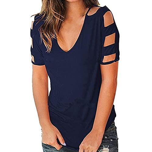 Verano de las mujeres Tops Algodón Camisas Solidcolor manga corta Casual Suelto