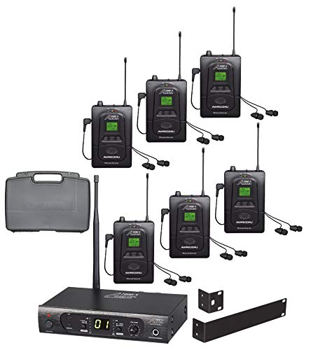 audio 2000s wireless headsets Audio2000'S AWM630BU UHF 100 Selectable Frequency Wireless in-Ear Monitor System with Six Wireless Receivers and a PVC Carrying Case