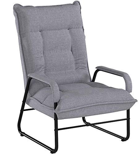 座椅子脚付高座椅子1人掛けソファー6段階リクライニンググレーポケットコイル+ウレタンフォームIHBC-GY