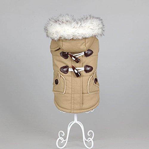 Kismaple Chien Hiver Veste Manteau à Capuche Chiot, Habillement de Neige de Chien, Chat Chien Doggie vêtements pour Animaux vêtements Chauds (S Poitrine:33-35cm, Khaki)