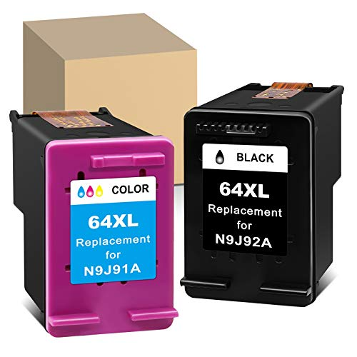 ATOPolyjet Remanufactured Ink Cartridge Replacement for HP 64XL 64 XL Black Color Compatible with Envy Photo 7855 6222 7155 6255 6252 7858 HP Tango Smart Wireless X Smart Wireless(1 Black, 1 Color)