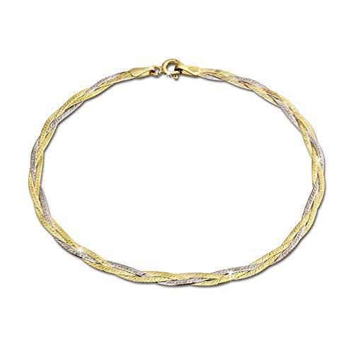 GoldDream Armband Echt 333er Gold bicolor geflochten 8 Karat 19cm D3GDA0009T Gold, Weißgold Armschmuck für die Frau