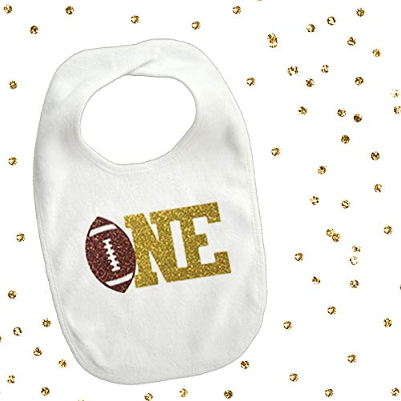 1 piece one football 2 colors brown and gold glitter bib toddler boy for first birthday gift cake smash photo prop sports theme