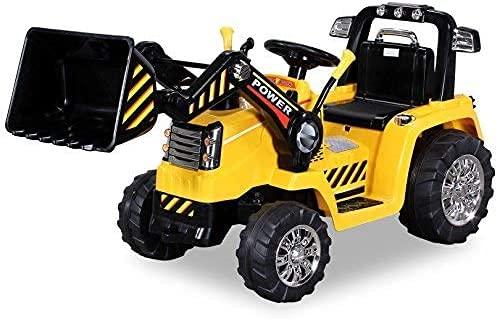 Actionbikes Motors - Ruspa - Escavatore elettrico con benna per bambini con motore 2 x 25 Watt - illuminazione a LED - telecomando da 2,4 Ghz (Gialla)