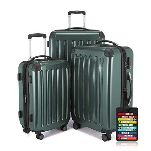 Hauptstadtkoffer - Alex - 3er-Koffer-Set Trolley-Set Rollkoffer Reisekoffer-Set Erweiterbar, TSA, 4 Rollen, (S, M & XL), Waldgrün +Design Kofferanhänger
