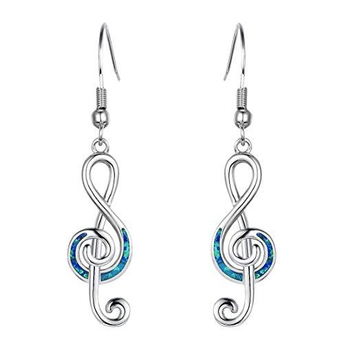 Bayda - Pendientes con símbolo musical para mujer, diseño de llave de nota, pendientes