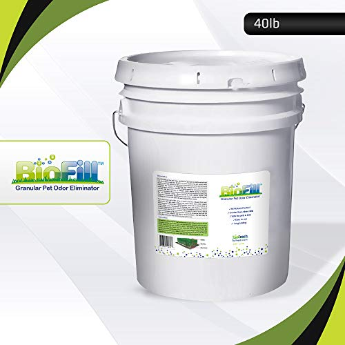 BioFill Artificial Grass Turf Granular Infill Deodorizer and Eliminator - All Natural, Long Lasting Pet Dog Urine Odor Deodorizer to Filter and Neutralize Odor in Turf Surfaces - 40 lb Pail