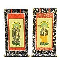 京仏壇はやし 掛軸 特製 < 30代 > (両脇 2枚セット) ◆たて:295mm 幅 :123mm / 浄土宗 【 掛け軸 】