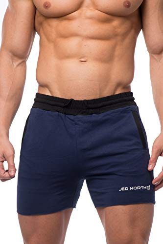 Jed North Herren Trainingshose/Trainingshose für Bodybuilding, Laufshorts - Blau - Groß