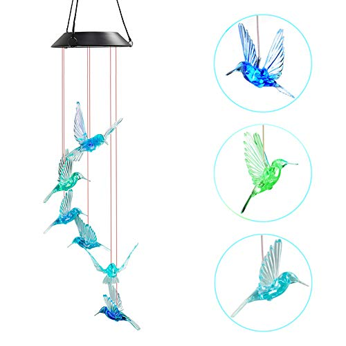 WeeCosy Wind Chimes Color-Changing Hummingbird LED Solar String Lights for Night Light, Garden, Festival, Décor and Party etc