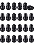 Stethoscope Replacement Earplugs - Universal Silicone Replacement Ear Tips for Stethoscope, Earbuds, Snap Tight Soft-Sealing Ear-Tips (Black, 24 Pieces)