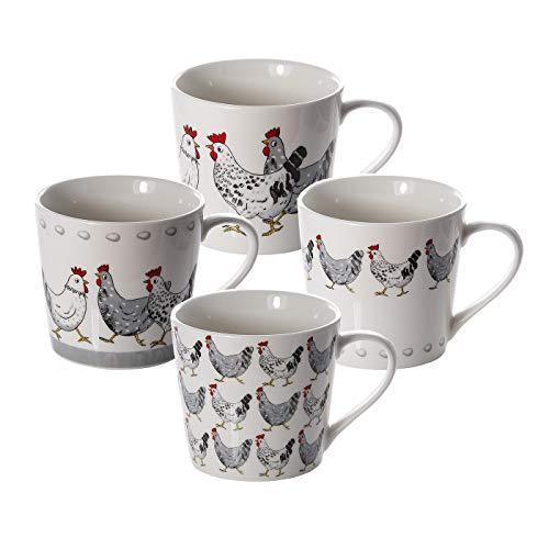 Set 4 Tazze Mug, Porcellana, Tazze da Colazione Grandi 426 ml con Animali da Fattoria Gallo e Gallina, idee Regalo Donna e Uomo