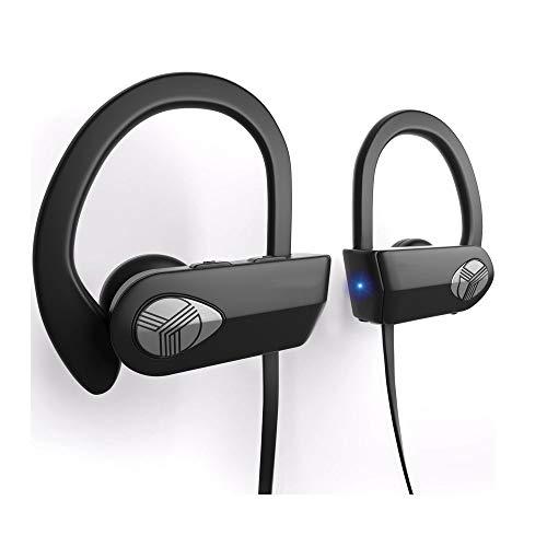 Resistente al agua IPX7 auriculares Bluetooth, auriculares Mejor inalámbrica for deportes, correr entrenamiento gimnasia, Sweatproof, Secure-Fit Headset, auriculares con cancelación de ruido W / Mic